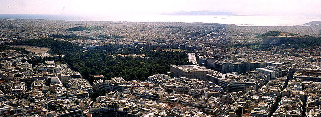 Athens panorama from Lykavittos Hill - Acropoli and sea view